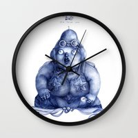 fat Wall Clocks featuring Fat Lady by Anna Cannuzz
