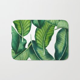 Hand painted watercolor botanical leaves pattern Bath Mat