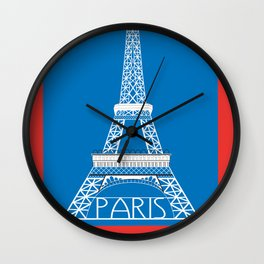 Paris, France - Skyline Illustration by Loose Petals Wall Clock