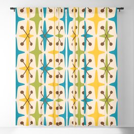 Mid Century Modern Abstract Star Pattern 441 Yellow Brown Turquoise Chartreuse Blackout Curtain