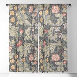 William Morris Laurel Multi-Colored Floral Textile Pattern Sunflower, Aster, Dahlia Sheer Curtain