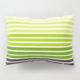 Sap Green Minimalist Abstract 15 Stripes Watercolor Gradient Pillow Sham