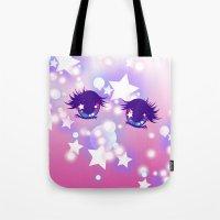 pastel goth Tote Bags featuring Fairy Kei Pastel Goth Dreamy Shoujo Manga Eyes by KawaiiMachine