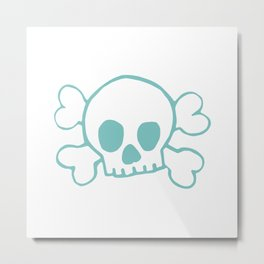 Aqua Skull and Crossbones Print and Pattern Metal Print