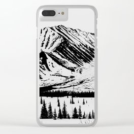 Black and White Mountains Clear iPhone Case