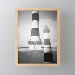 Bodie Island Lighthouse in Black and White - Holga double exposure film photograph Framed Mini Art Print