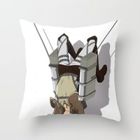 shingeki no kyojin Throw Pillows featuring Attack on Titan -Shingeki no Kyojin by Daniel Zeni