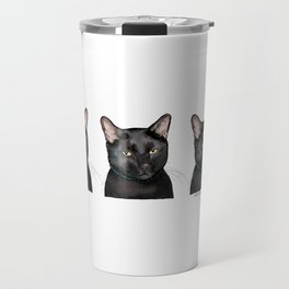 Triple Black Cat on White Travel Mug