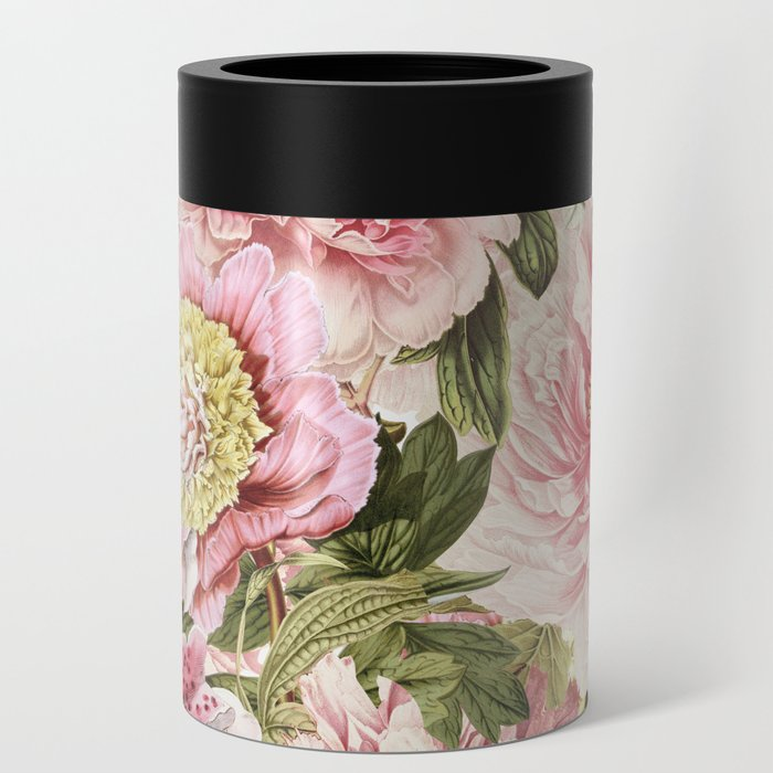 Vintage & Shabby Chic Floral Peony & Lily Flowers Watercolor Pattern Can Cooler