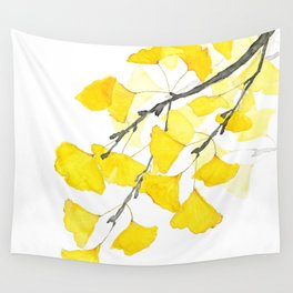 Golden Ginkgo Leaves Wall Tapestry