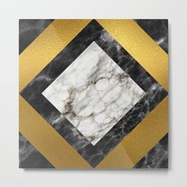 Gold foil white black marble #5 Metal Print