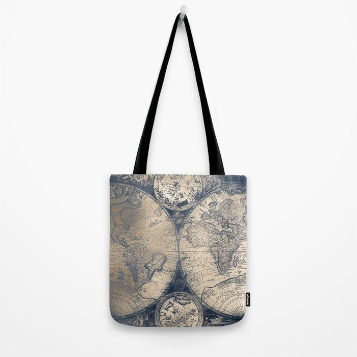 Antique World Map White Gold Navy Blue by Nature Magick Tote Bag