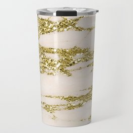 Marble - Gold Marble Glittery Light Pink and Yellow Gold Travel Mug