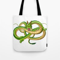 dragon ball Tote Bags featuring Shenron Dragon ball by OverClocked