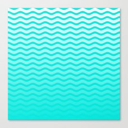Bright Turquoise and White Faded Chevron Wave Canvas Print