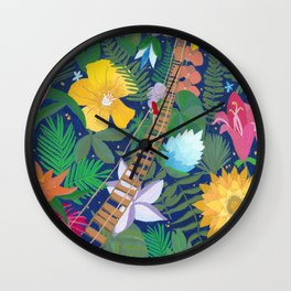 Bridge of Tropical Flowers Wall Clock