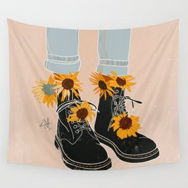 Flower Boots Wall Tapestry