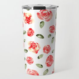 Red Roses Watercolor // Hand Painted Watercolor Floral // Rose Red and Leaf Green Travel Mug