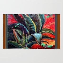 BROWN  DESERT AGAVE & BLUE DRAGONFLIES Rug
