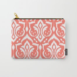Ikat Damask Coral Carry-All Pouch