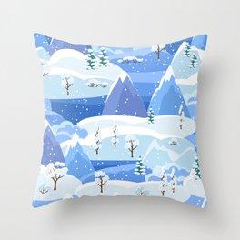 Winter Forest Snowfall Night Mountains Throw Pillow