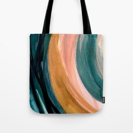 Breathe: a vibrant bold abstract piece in greens, ochre, and pink Tote Bag