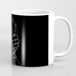 Minimal Line Art of Man holding Woman hand black Coffee Mug