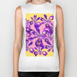 Abstract Purple Dutch Iris Floral Garden Yellow-Pink Biker Tank