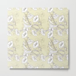 Seamless pattern with pansies and bindweed Metal Print