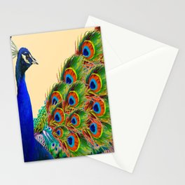 BLUE PEACOCK CREAM COLOR ART Stationery Cards