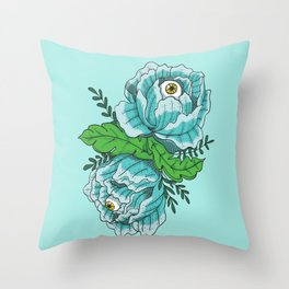 Spooky Blue Roses Throw Pillow