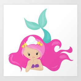 Cute Mermaid With Pink Hair and Green Tail Art Print