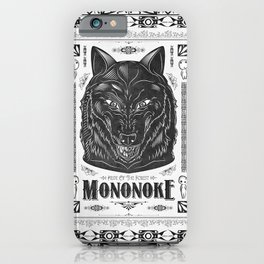Mononoke Hime Wolf Pride Letterpress Line Work iPhone Case