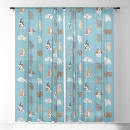 puppies pattern Sheer Curtain