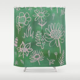 Pink Nature on Green Shower Curtain