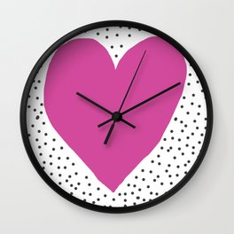 Pink heart with grey dots around Wall Clock