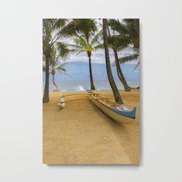Hawaiian Outrigger Canoe North Shore Maui Metal Print