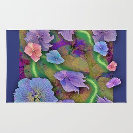 LACECAP HYDRANGEA THIMBLEBERRY ABSTRACT FLORAL Rug