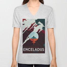 Enceladus - Home of the Cold Faithful (Courtesy NASA/JPL-Caltech) Unisex V-Neck