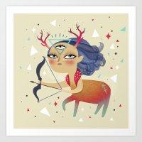 sagittarius Art Prints featuring Sagittarius by Ana Varela