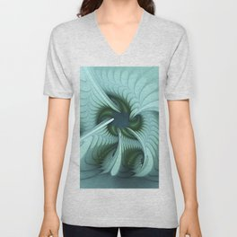 Green Lights in a blue Fantasy Fractal Unisex V-Neck