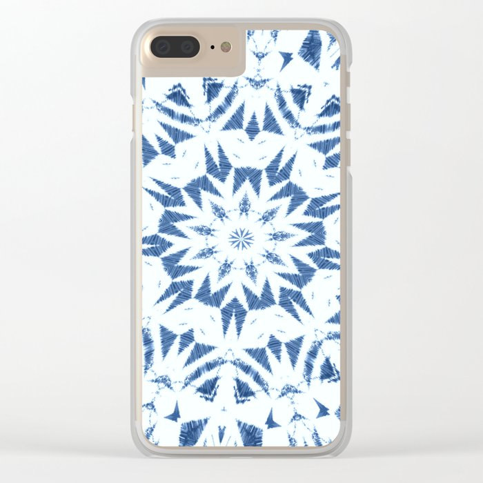 Snowflake Denim & White Clear iPhone Case