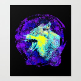 wild angry lone wolf, grunge blue, yellow, purple spray paint design Canvas Print