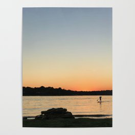 Paddleboarder at sunset Poster