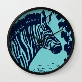 Zebra Portrait: Aquamarine Wall Clock