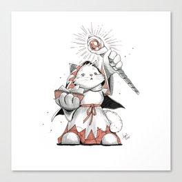 White Mage Munchkin Cat Canvas Print