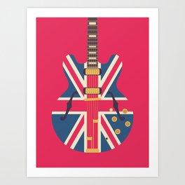 Union Jack Flag Guitar - Crimson Art Print