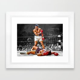 Mama Said I'm Gonna Knock You Out - Ali Knocks out Liston Boxing Portrait Painting oil on canvas Framed Art Print