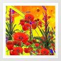 MODERN TROPICAL FLOWERS GARDEN DESIGN IN YELLOW-ORANGE COLORS by sharlesart