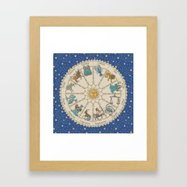 Vintage Astrology Zodiac Wheel Framed Art Print